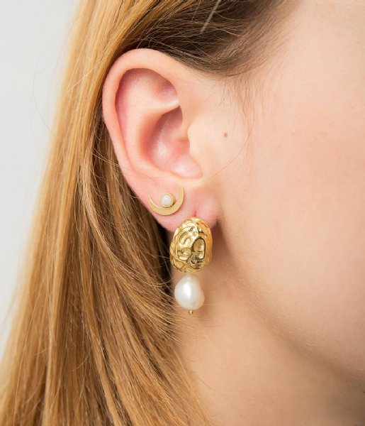 The Little Green Bag  Moonstone Studs X My Jewellery gold colored