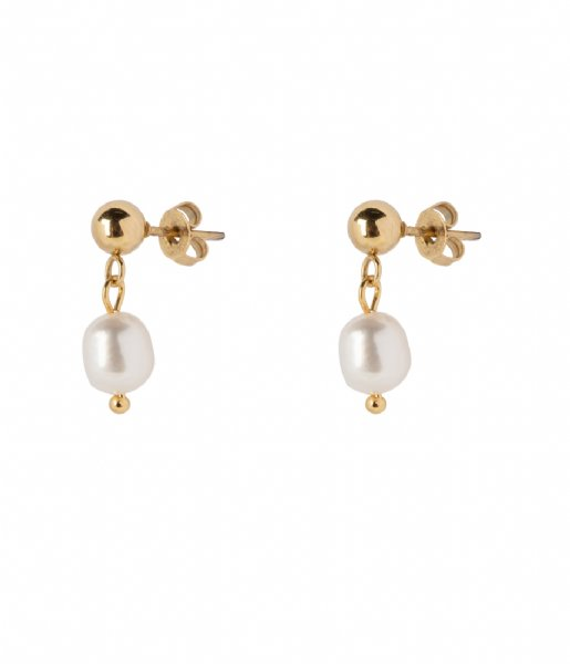 The Little Green Bag  Freshwater Pearl Studs X My Jewellery gold colored